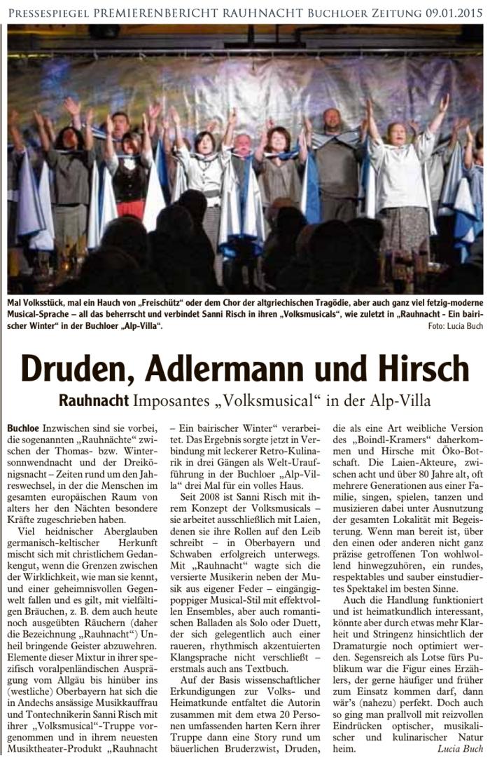 RAUHNACHT Premierenbericht Buchloer Zeitung 09.01.2015
