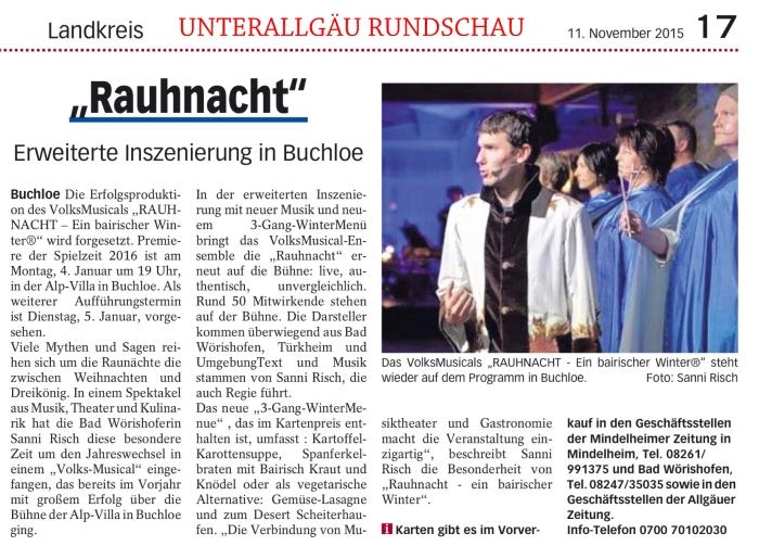 Pressespiegel RAUHNACHT UNTERALLGÄU RUNDSCHAU vom 11.11.2015