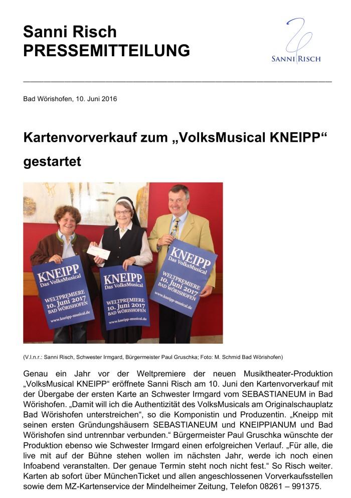 PRESSEMITTEILUNG vom 10.06.2016  --- VolksMusical KNEIPP Vorverk