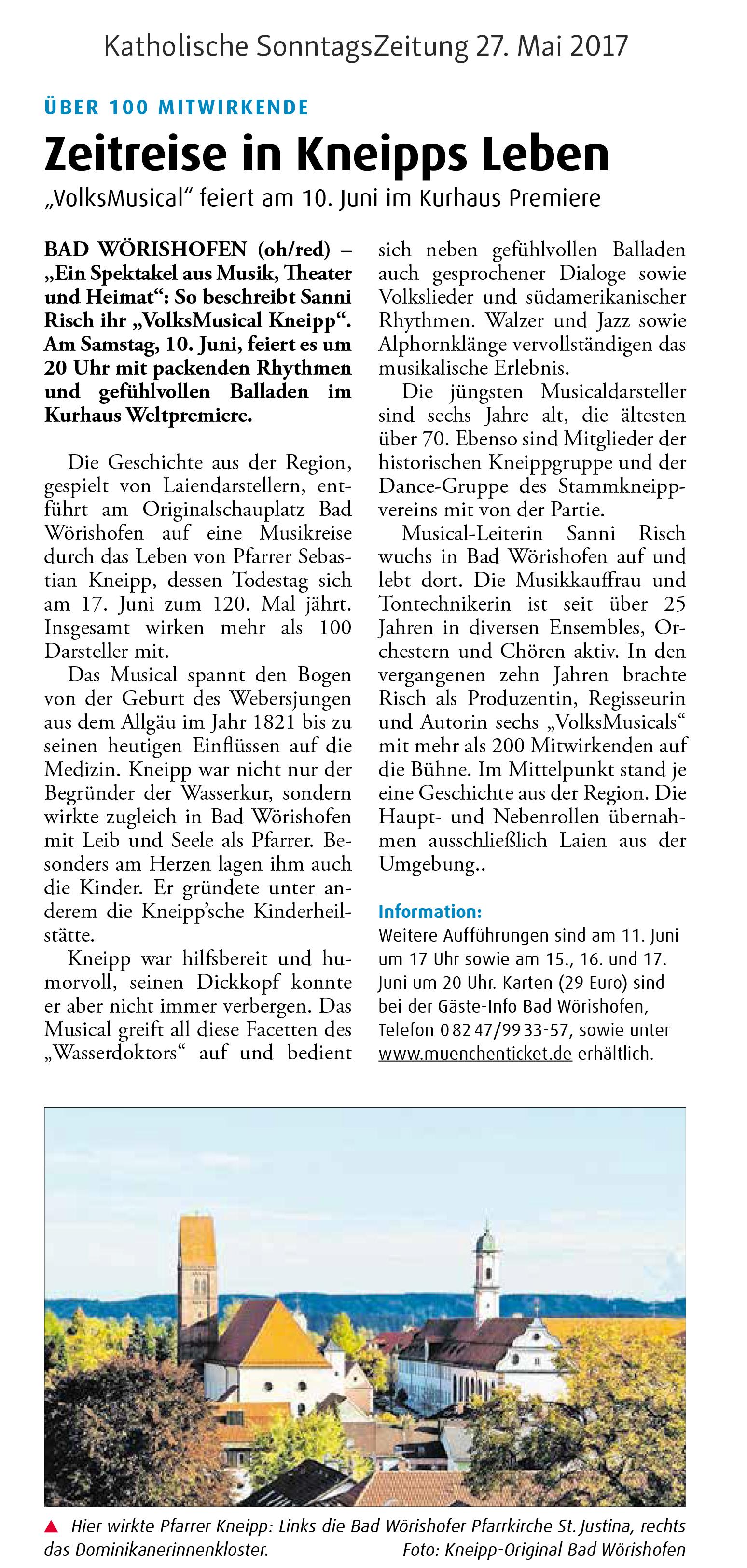 """Vorbericht """"Katholische SonntagsZeitung"""""""