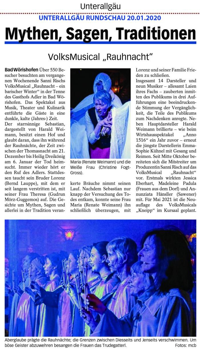 VolksMusical RAUHNACHT Premierenbericht Wiederaufnahme UR 20012020